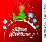 merry christmas landscape.... | Shutterstock .eps vector #553827604
