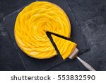 delicious mango tart on dark...   Shutterstock . vector #553832590