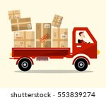 delivery service. red car with... | Shutterstock .eps vector #553839274