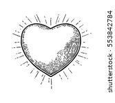 heart with rays. vector black... | Shutterstock .eps vector #553842784