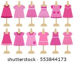 children's dresses in flat... | Shutterstock .eps vector #553844173