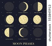 the phases of the moon in the... | Shutterstock .eps vector #553845913