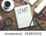 start word on notebook with... | Shutterstock . vector #553852933