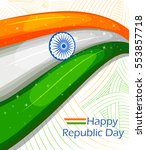 26th january  happy republic... | Shutterstock .eps vector #553857718