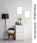 modern black white interior... | Shutterstock . vector #553874563