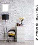 modern black white interior... | Shutterstock . vector #553874578