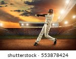 baseball players in action on... | Shutterstock . vector #553878424