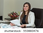 beautiful smiling business... | Shutterstock . vector #553883476