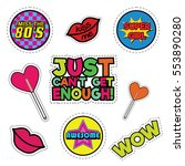 fashion patch badges with lips...   Shutterstock .eps vector #553890280