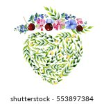 love concept. heart and flowers.... | Shutterstock . vector #553897384