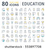 set vector line icons in flat... | Shutterstock .eps vector #553897708