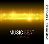 music beat. golden lights... | Shutterstock .eps vector #553903216
