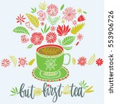 cute composition with cup and... | Shutterstock .eps vector #553906726