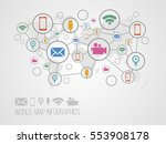 infographics map with symbols... | Shutterstock .eps vector #553908178