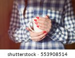 young woman with winter nordic... | Shutterstock . vector #553908514