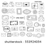 set of hand drawn sketchy post... | Shutterstock .eps vector #553924054