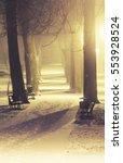 night landscape in winter city | Shutterstock . vector #553928524