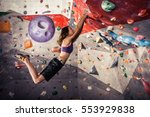 free climber young woman... | Shutterstock . vector #553929838