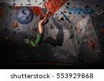 muscular man practicing rock... | Shutterstock . vector #553929868