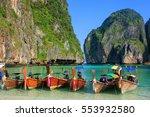 longtail boats anchored at maya ... | Shutterstock . vector #553932580