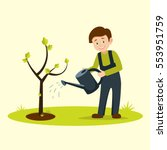 boy watering tree.eco vector... | Shutterstock .eps vector #553951759