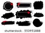 set of black paint  ink brush... | Shutterstock .eps vector #553951888