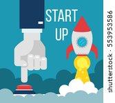 start up. businessman pushing... | Shutterstock .eps vector #553953586