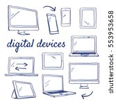 doodle set of digital devices   ... | Shutterstock .eps vector #553953658