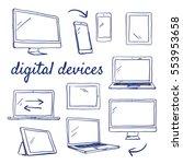Doodle Set Of Digital Devices ...