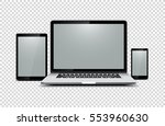 black laptop  tablet  phone on... | Shutterstock .eps vector #553960630