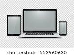 black laptop  tablet  phone on... | Shutterstock .eps vector #553960630
