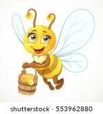cute bee flies with wooden... | Shutterstock .eps vector #553962880