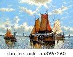 fine art classic art boats...   Shutterstock . vector #553967260
