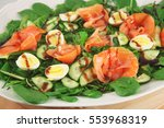 appetizer with spinach  salmon... | Shutterstock . vector #553968319