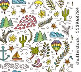 cartoon hand drawn doodles on a ... | Shutterstock .eps vector #553968784