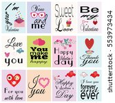 happy valentine s day. set of... | Shutterstock .eps vector #553973434
