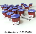3D rendering of a collection of jam bottles and a pair of spoons - stock photo