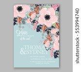 anemone wedding invitation card ... | Shutterstock .eps vector #553994740
