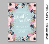 anemone wedding invitation card ... | Shutterstock .eps vector #553994860