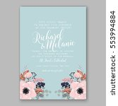 anemone wedding invitation card ... | Shutterstock .eps vector #553994884