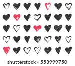 valentine day doodle hearts.... | Shutterstock .eps vector #553999750