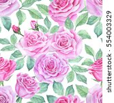 watercolor flower pattern | Shutterstock . vector #554003329