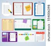 set of agenda notebooks. flat... | Shutterstock .eps vector #554006398
