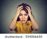 desperate stressed worried... | Shutterstock . vector #554006650