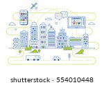 smart city illustration in flat ... | Shutterstock .eps vector #554010448