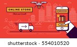 online store website banner in... | Shutterstock .eps vector #554010520