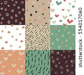 vector set of nine different... | Shutterstock .eps vector #554017060