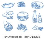 icon set of different fast food ... | Shutterstock .eps vector #554018338
