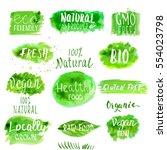 eco  bio  organic  gluten free  ... | Shutterstock .eps vector #554023798