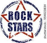 Rock stars blue and red rubber stamp grunge design.